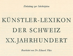Archives of the Lexicon of Swiss Artists